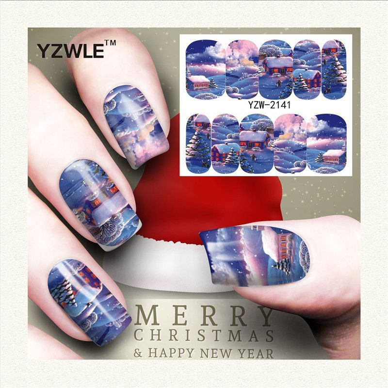 YZWLE 1 Sheet Christmas Design DIY Decals Nails Art Water Transfer