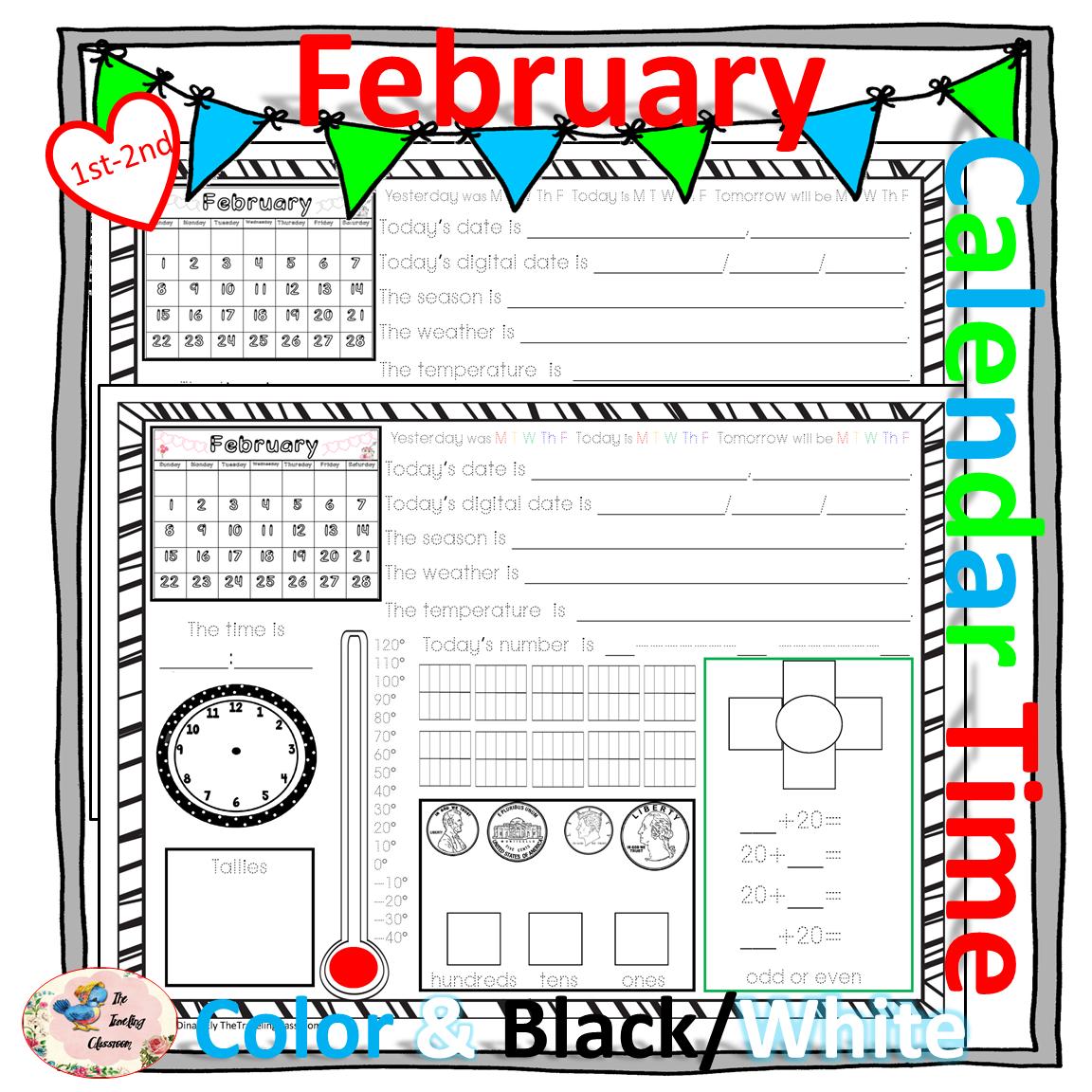morning work calendar time worksheets february 2018 calendar time worksheets and math. Black Bedroom Furniture Sets. Home Design Ideas