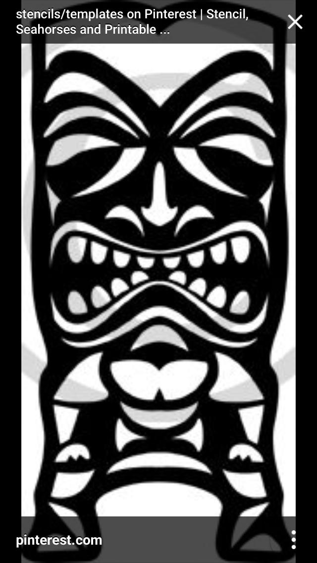 Carving Designs Tropical Flowers Tiki Totem Head Tattoo Hawaiian