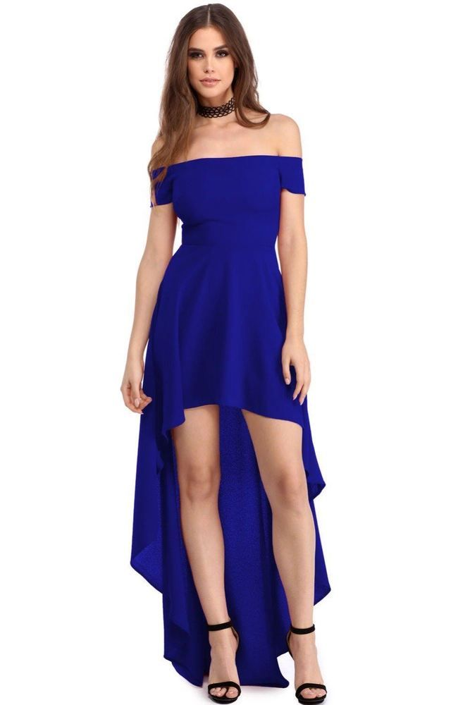 77c6703236bd Women Blue Color Summer Wear High Low Hem Off Shoulder Dress  fashion   clothing  shoes  accessories  womensclothing  dresses