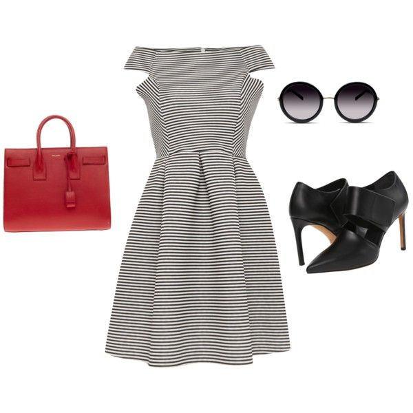 Untitled #367 by carlene-lindsay on Polyvore featuring polyvore fashion style Lipsy Vince Yves Saint Laurent GlassesUSA