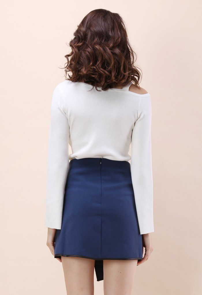 Urban Vogue Flap Skirt in Navy - Retro, Indie and Unique Fashion