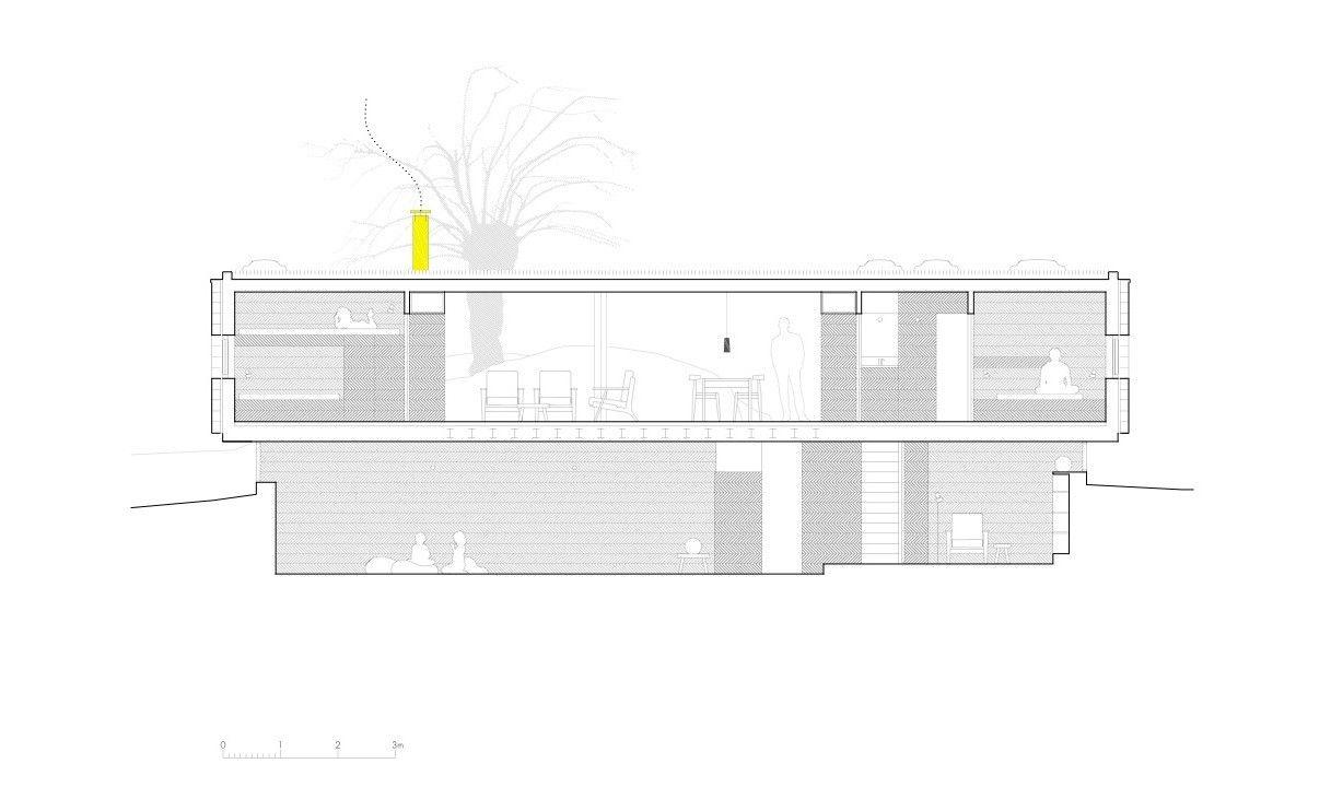 Casa B,Sección Longitudinal