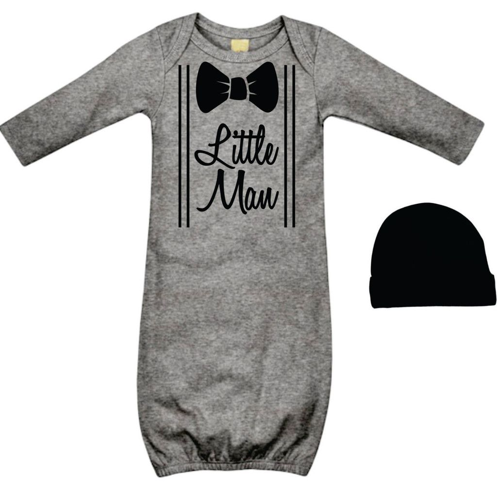 d83db15f7 Cool Baby Boy s Take Home Outfit - Little Man Grey and Black
