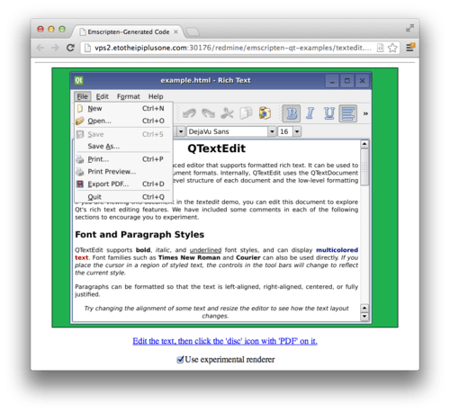 Qt GUI Toolkit Ported to JavaScript via Emscripten | JavaScript