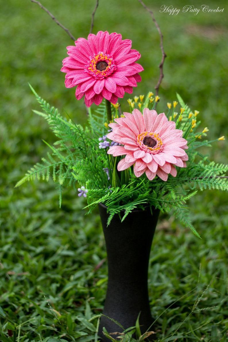 Crochet Gerbera Pattern Crochet Gerbera Daisy Flower Pattern Etsy Crochet Flowers Gerbera Gerbera Daisy