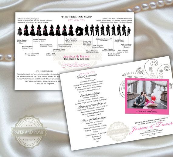 wedding program bifold half fold booklet large by