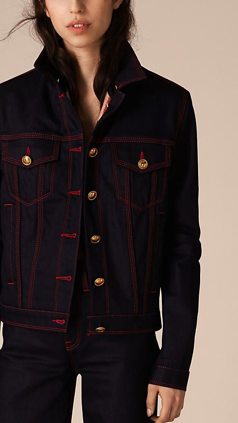 With a touch of stretch for comfort, this Burberry denim jacket is woven in Japan for optimal quality and durability.