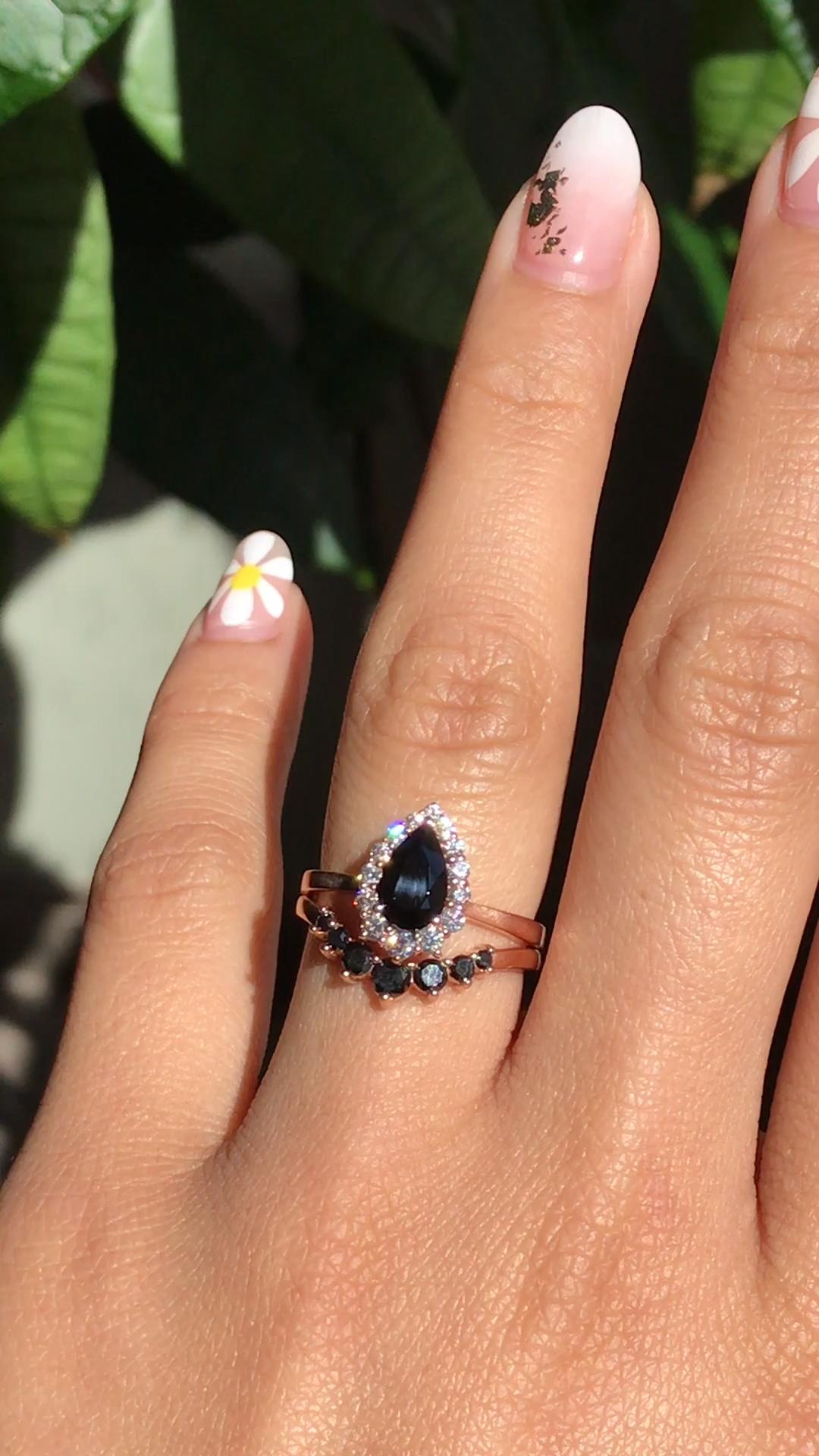 Curved U diamond wedding band,solid 14K rose gold ring