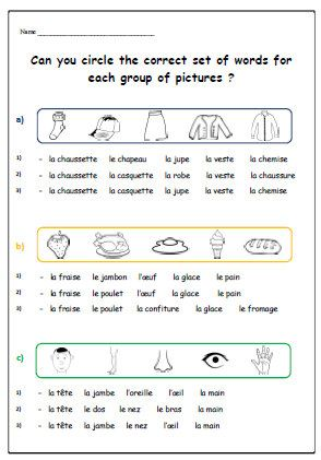 french learning french worksheet printable for children basic french words actvity kids. Black Bedroom Furniture Sets. Home Design Ideas
