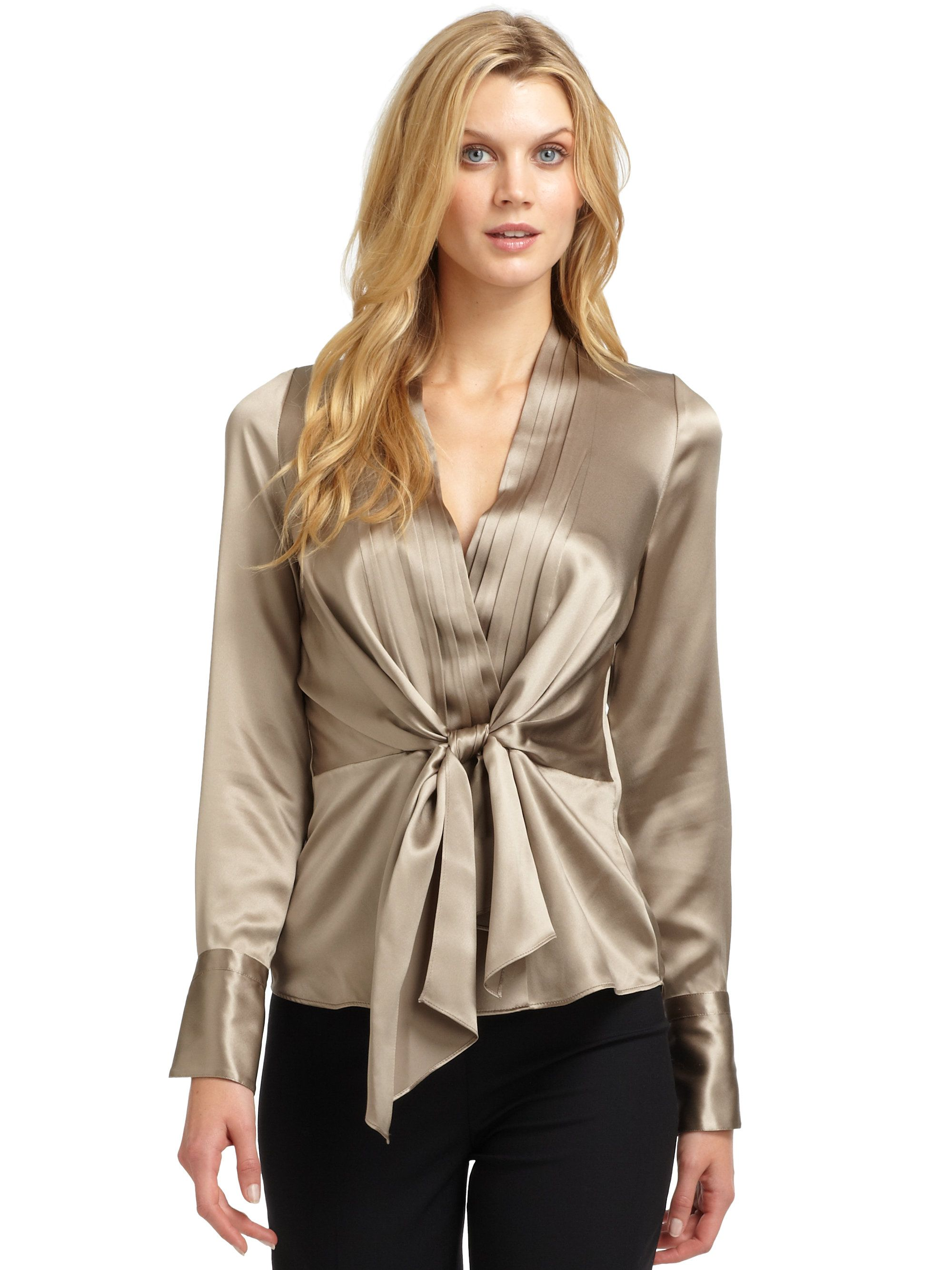 224cb2555e5fbe Lafayette 148 New York Beige Camilla Silk Satin Pleated Blouse