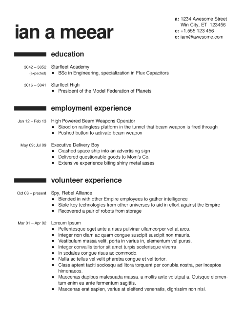 graphic resume elements