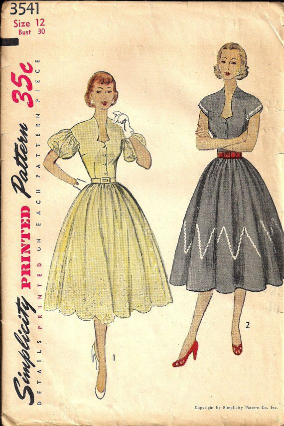 UNCUT Vintage 50s Sewing Pattern DRESS Sweetheart Neckline by HoneymoonBus, $14.99