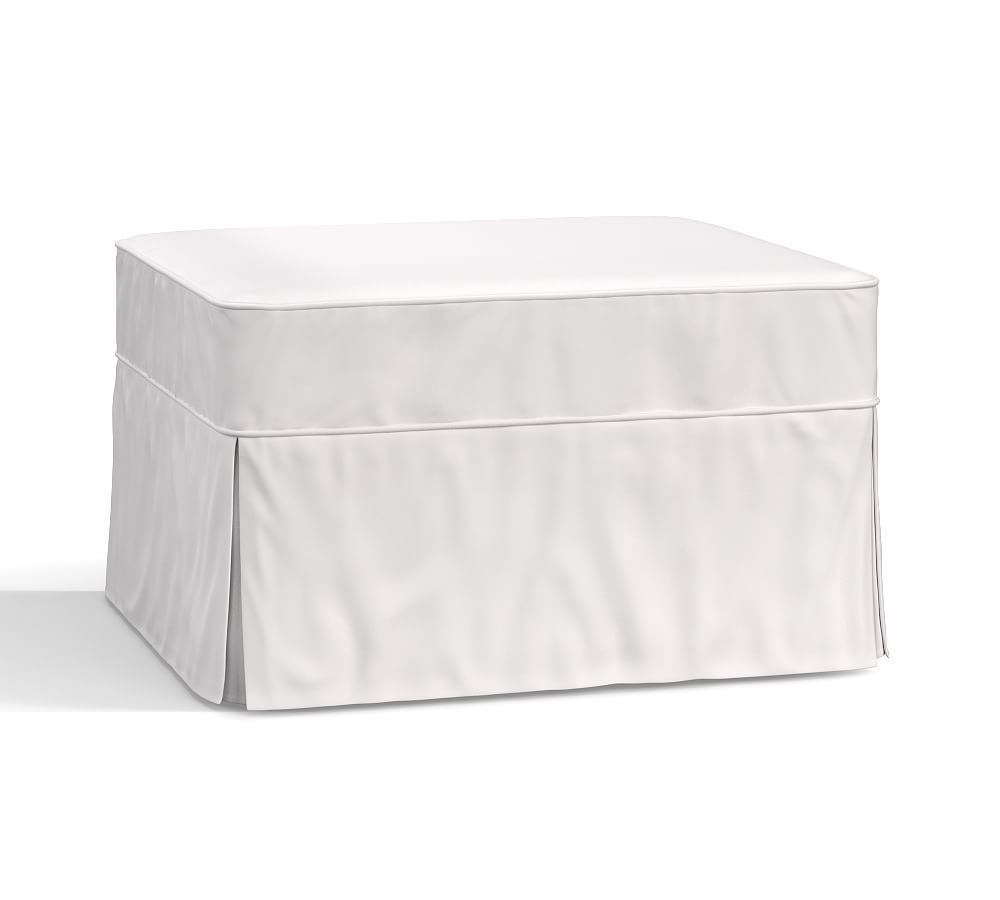 Pb Basic Ottoman Slipcover Twill White Slipcovers Footstool Furniture Covers Pottery Barn