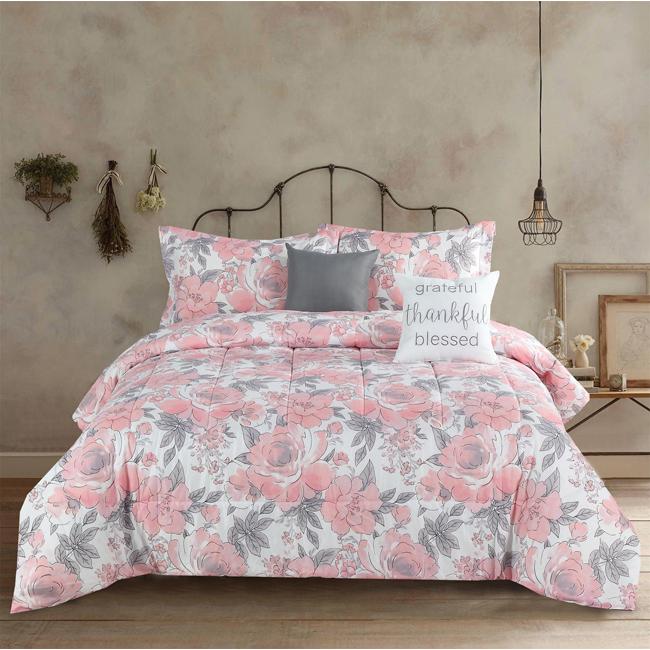Pink And Gray Floral Comforter Set Floral Comforter Sets Comforter Sets Floral Comforter