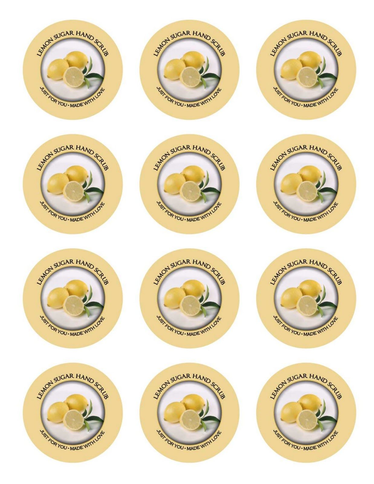 Lemon Sugar Hand Scrub Labels