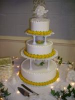 Wedding 3 Tier Column Yellow Roses Classic Custom Cake in Florida