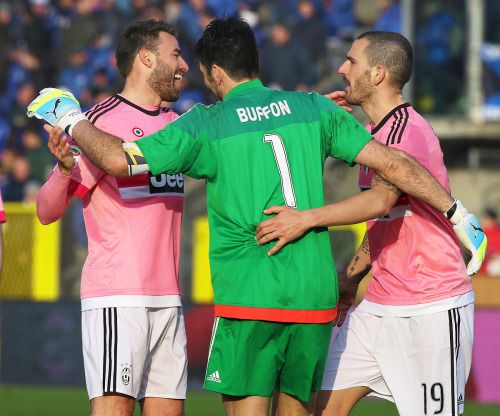 Juventus - Buffon with Barzagli and Bonucci