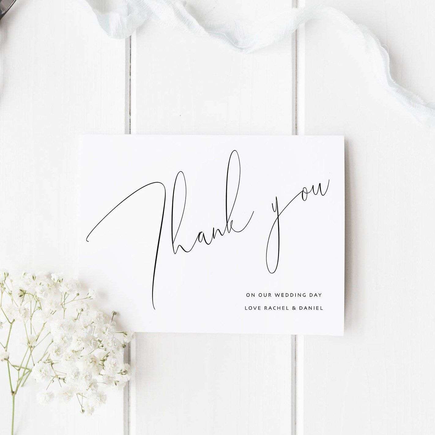 Calligraphy Wedding Thank You Cards Thank You Card Set