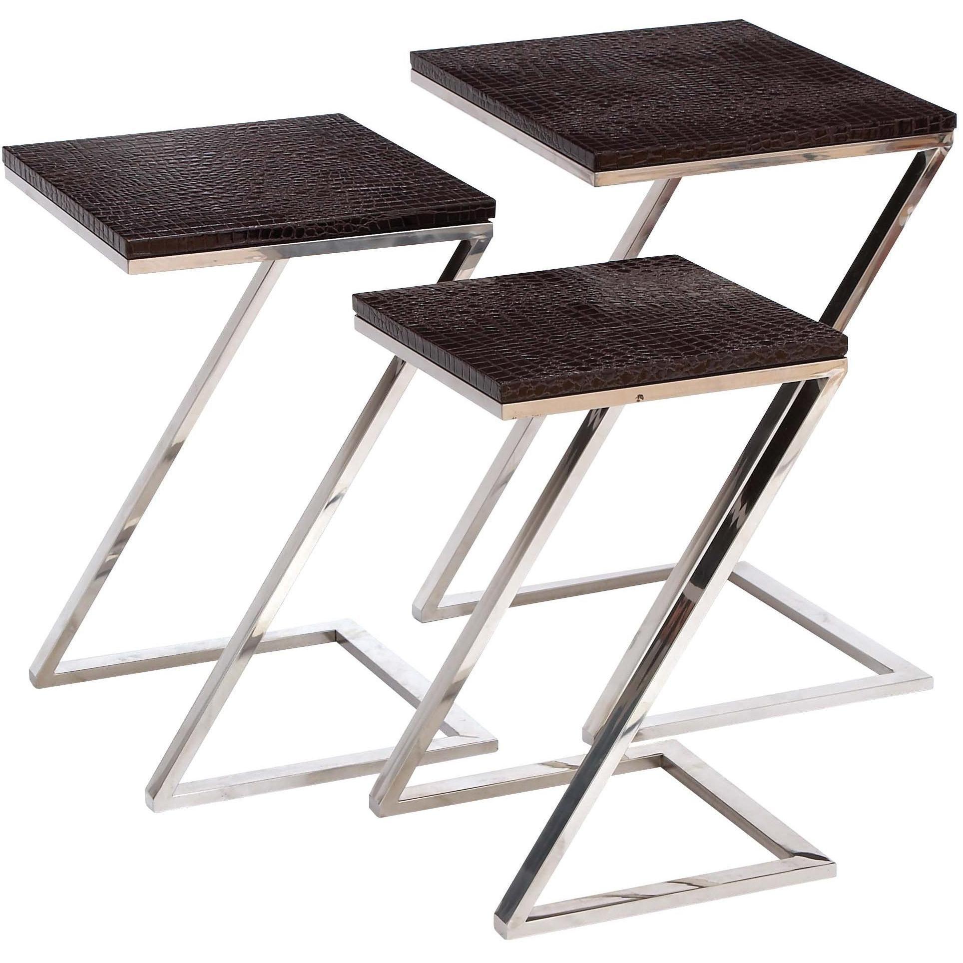 Empire Art Black On Blue Metallic Shagreen Leather Nesting Z Base Tables