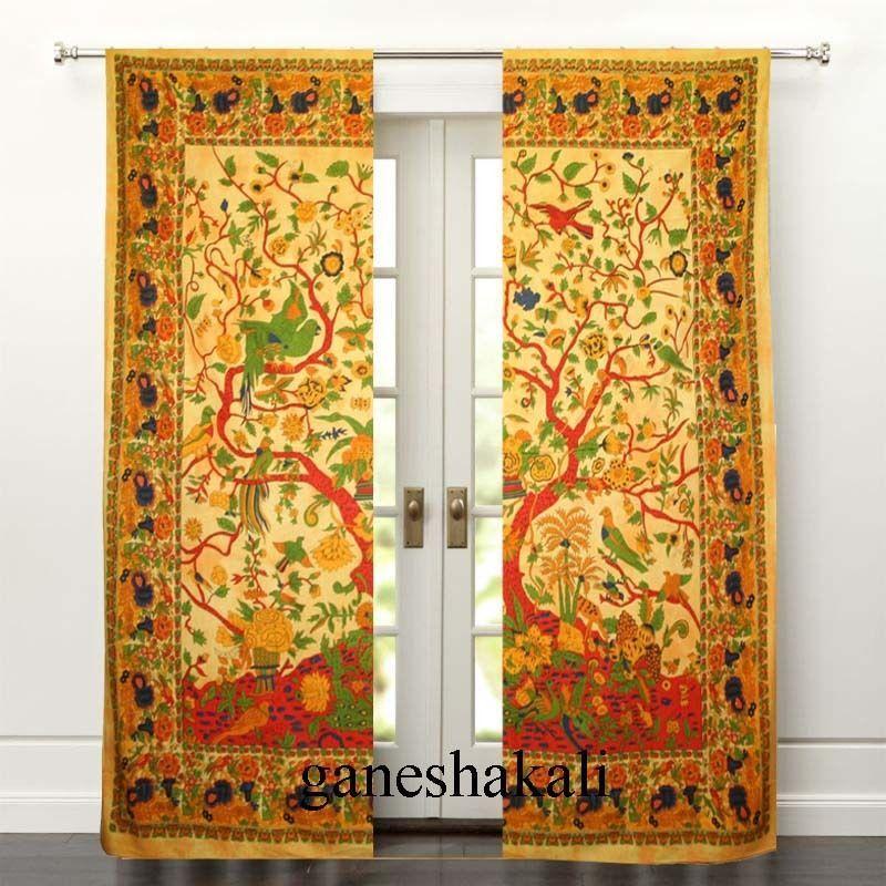 Indian Mandala Curtains Window Wall Drapes Panel Boho Hippie Tapestry Room Decor