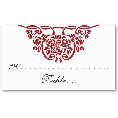 Red rose motif wedding place card business card