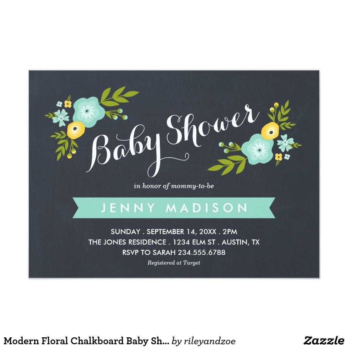 Modern floral chalkboard baby shower invitation sweet trendy modern floral chalkboard baby shower invitation sweet trendy chalkboard typography baby shower invitation with cute modern filmwisefo