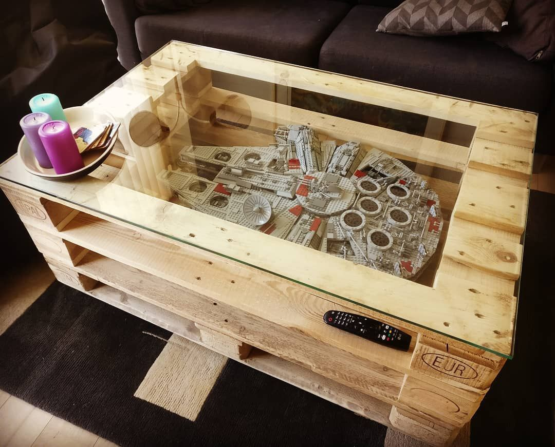 Dyi Coffee Table Made From Pallets For The Lego Star Wars Millennium Falcon Starwars Lego Legostarwar Pallet Furniture Pallet Coffee Table Made From Pallets [ 871 x 1080 Pixel ]
