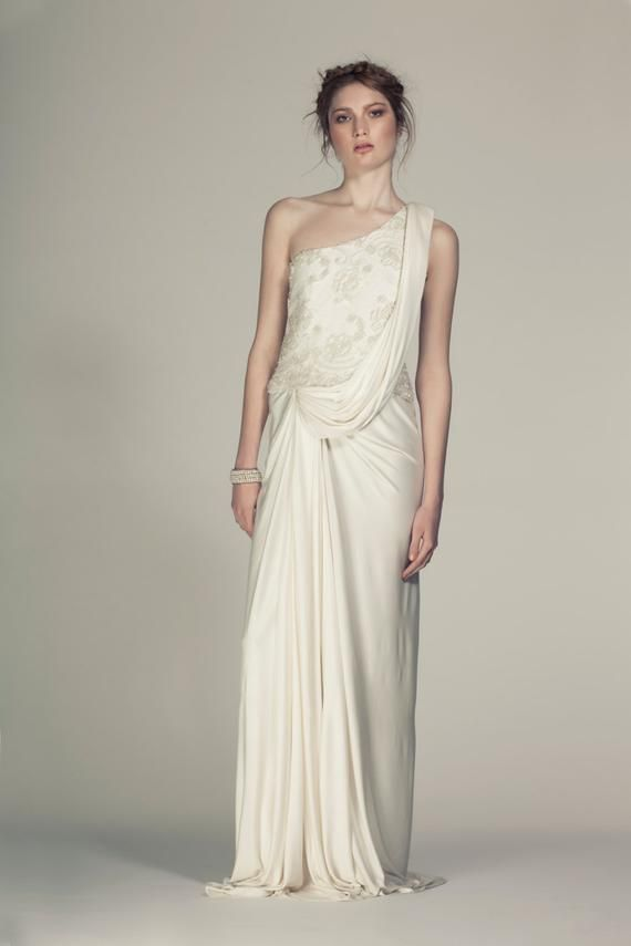 Silk Jersey Grecian Wedding Dress made from Silk Jersey and Beaded French Lace #grecianweddingdresses Silk Jersey Grecian Wedding Dress made from Silk Jersey and Beaded French Lace #grecianweddingdresses