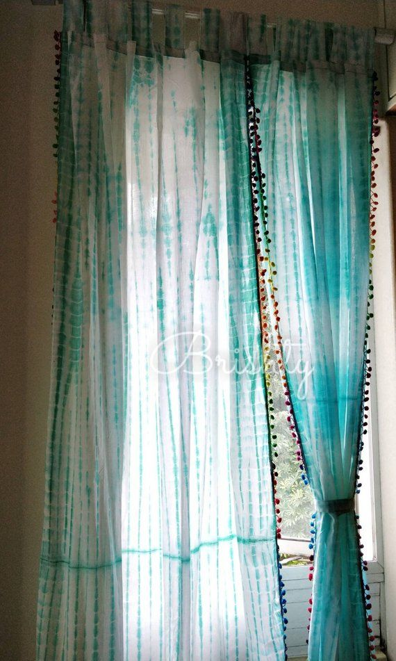 Set Of Two Tie Dye Shibori Curtain Panels With Lace Border Boho Curtains Beach Sea Foam