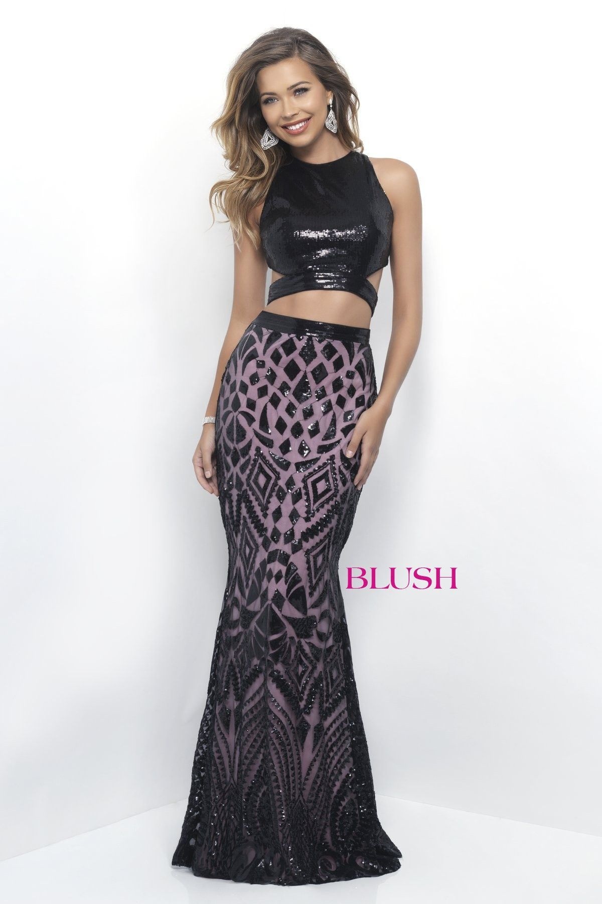 Blush prom black pink sequin two piece prom dress gimme a