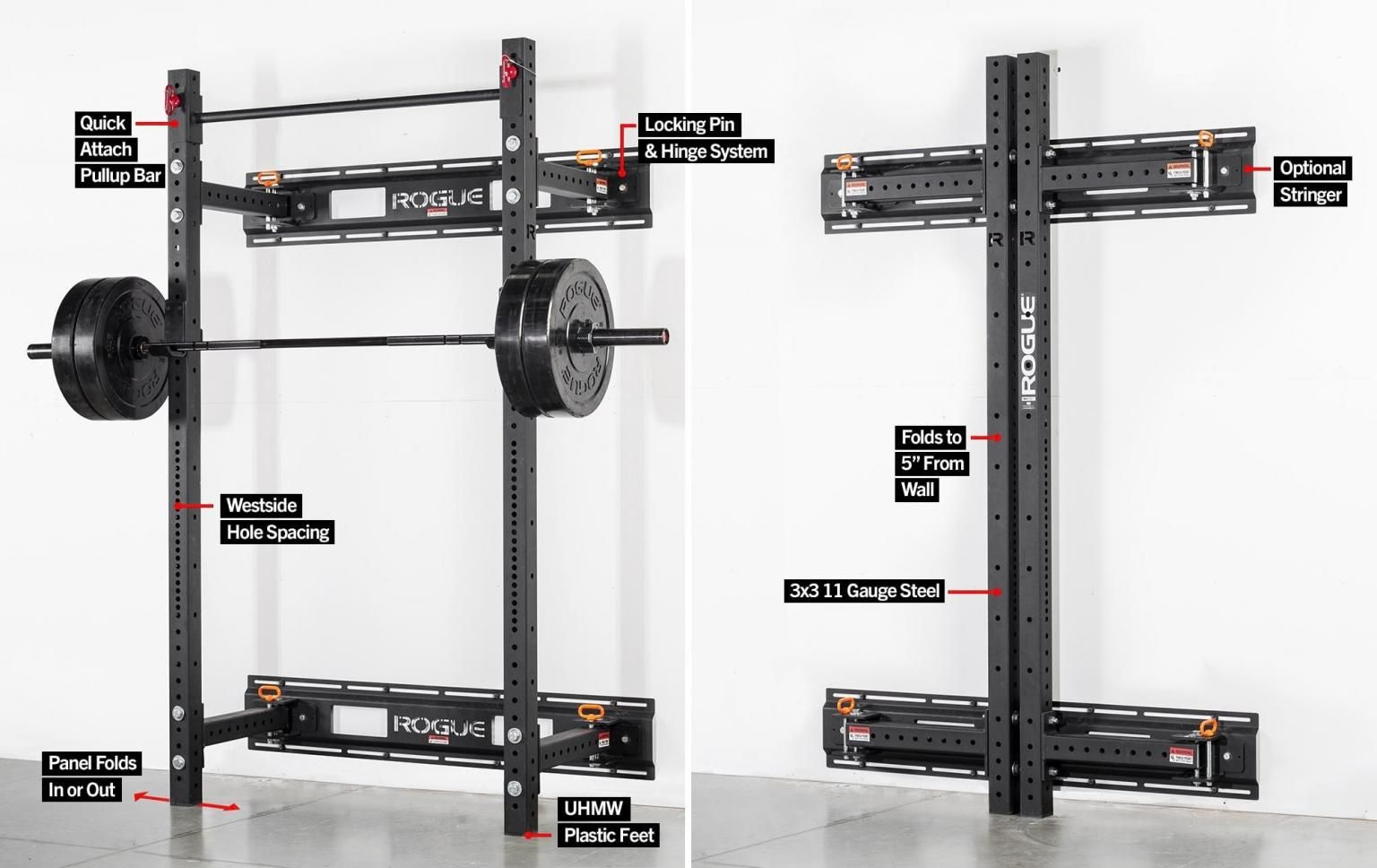 Rogue Rml 3w Fold Back Wall Mount Power Rack Great Space Saving Technology For Your Garage Gym Wall Mount Rack Home Gym Garage Home Gym Design