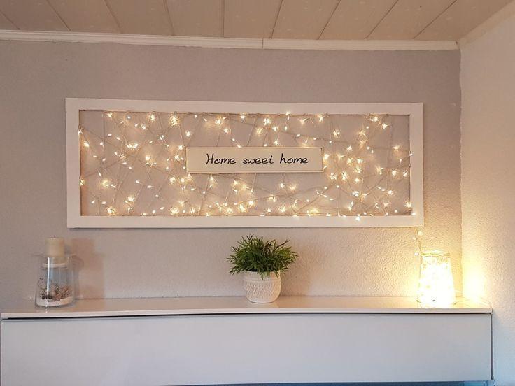 Photo of Lichter im Bilderrahmen – Willkommensschild #Bilderrahmen #Lichte | Anbau Haus Wohnzimmer