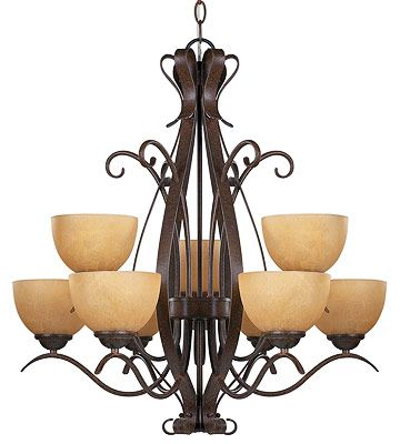 Draw the Line.  This bronze chandelier has the old world yet simple elegant style that would complement the style we like.