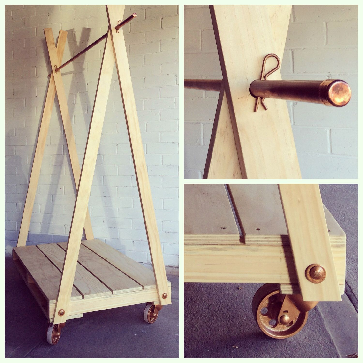 Handmade Natural Wood Clothes Rack Clothes Rail with 3 Shelves