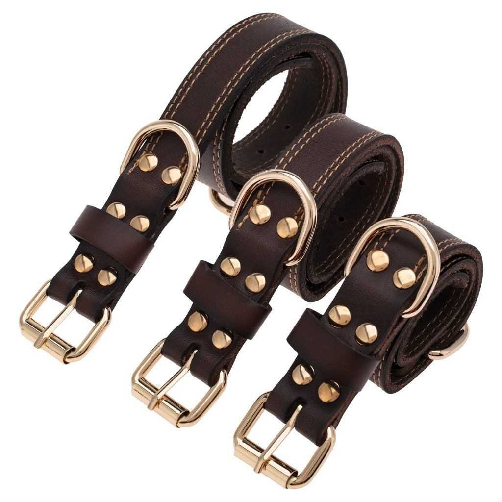 Trevano Genuine Leather Dog Collar With Alloy Buckle And Double D