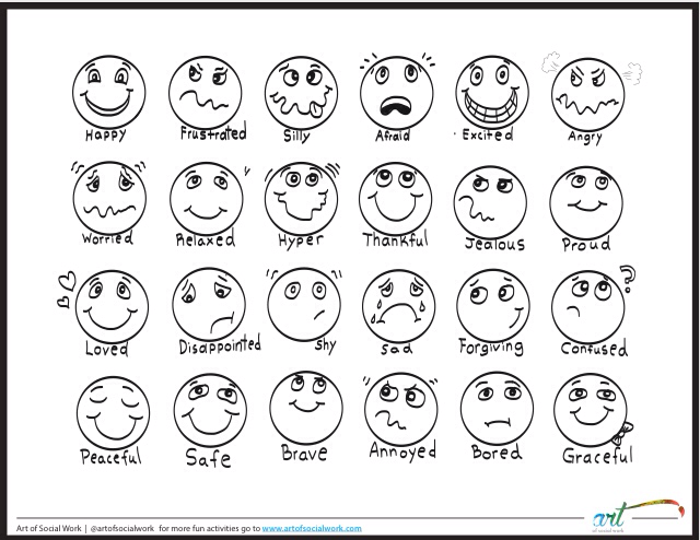 feeling faces printable coloring sheet