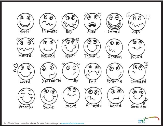 Feeling Faces Printable Coloring Sheet Feelings Chart Feelings Faces Emotion Faces