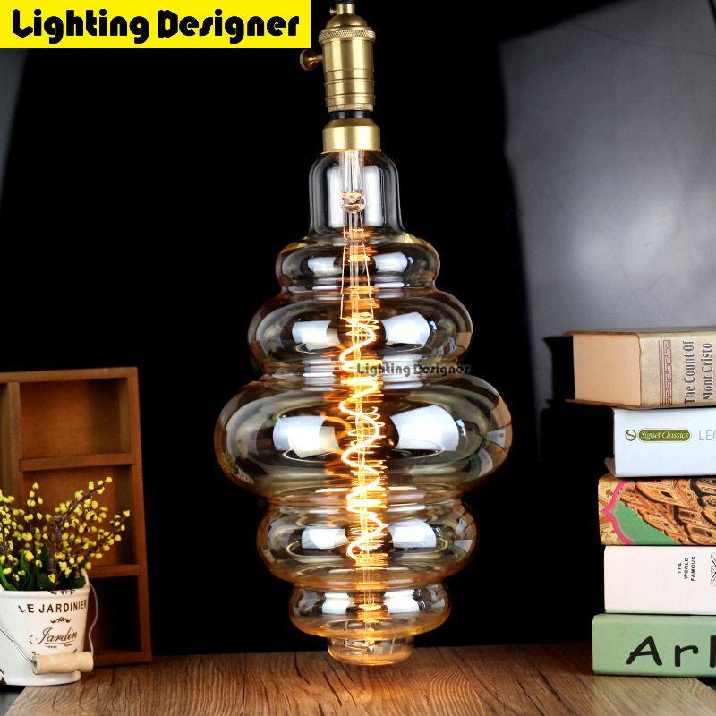 Large Size Bulb Dimmable Edison E27 Soft Led Filament Vintage Lamp Hamburger Decor