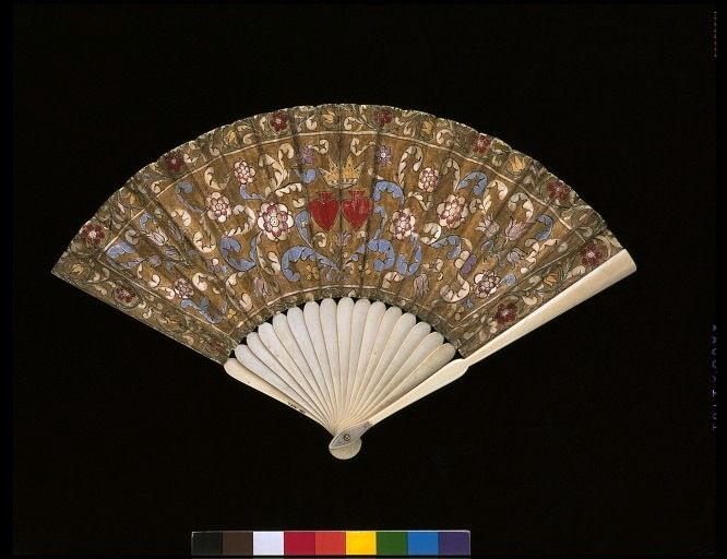 Fan, Germany 1780-1820 Gouache on vellum, with ivory V&A