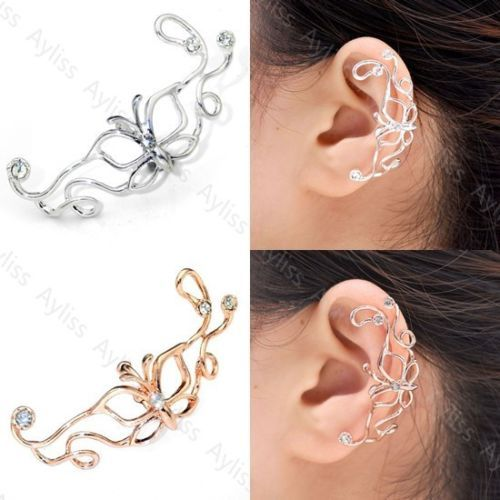 Details about Fashion Punk Butterfly Ear Cuff Wire Wrap Clip On ...