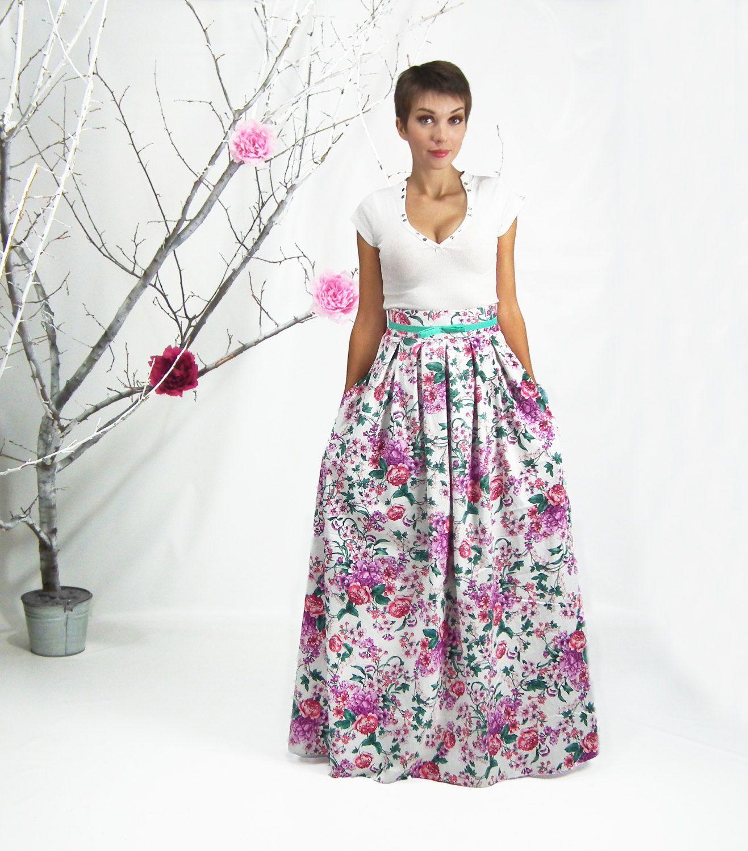 Maxi Skirt Long Floral Skirt Plus Size Skirt High Waisted Skirt ...
