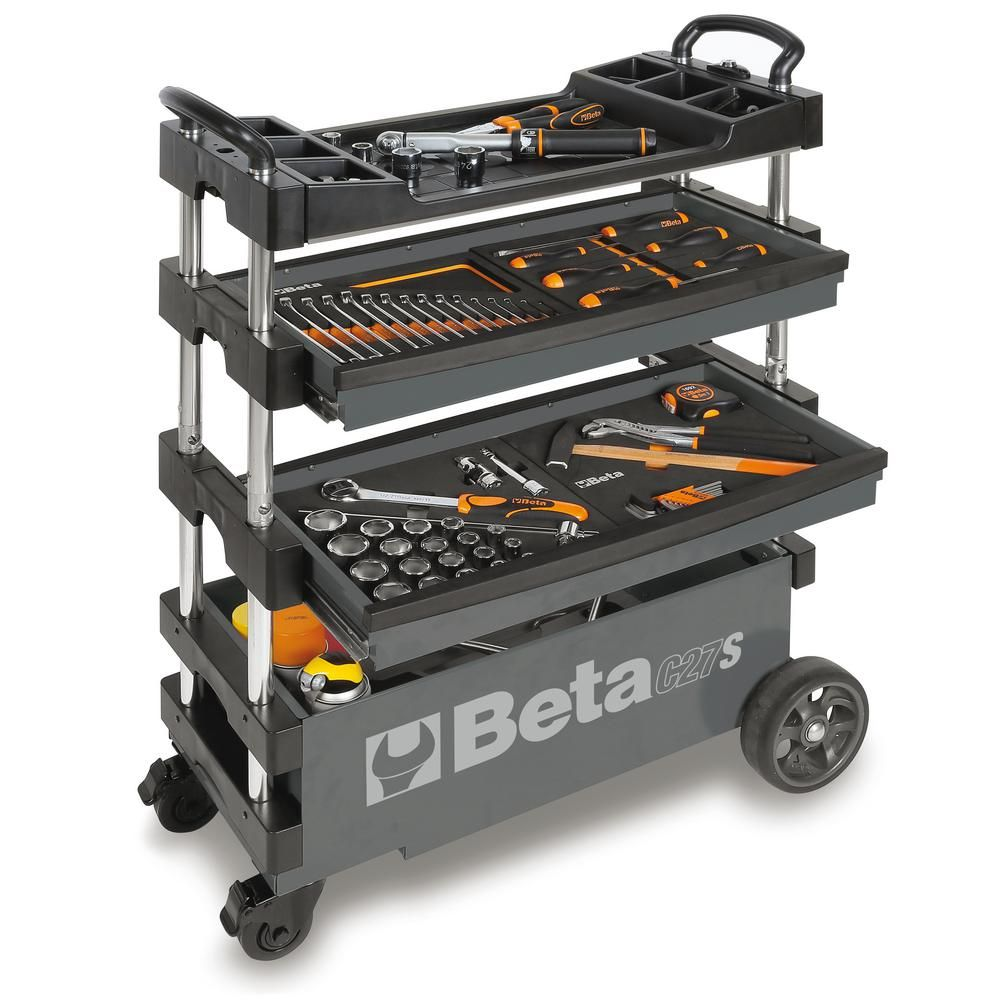 Beta 15 In. 2-Drawers Folding Tool Utility Cart For