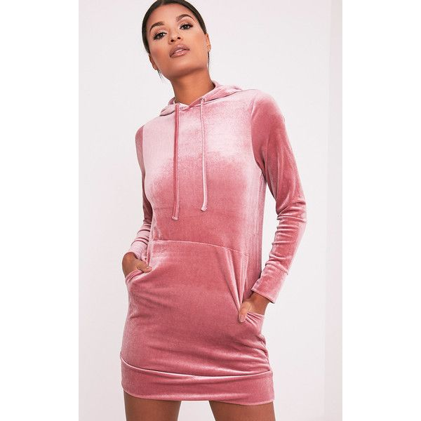 Harmanie Dusty Pink Velvet Hooded Dress (£12) ❤ liked on Polyvore featuring dresses, dusty pink, hooded dresses, velvet dress, red velvet dress, dusty pink dress and red hooded dress