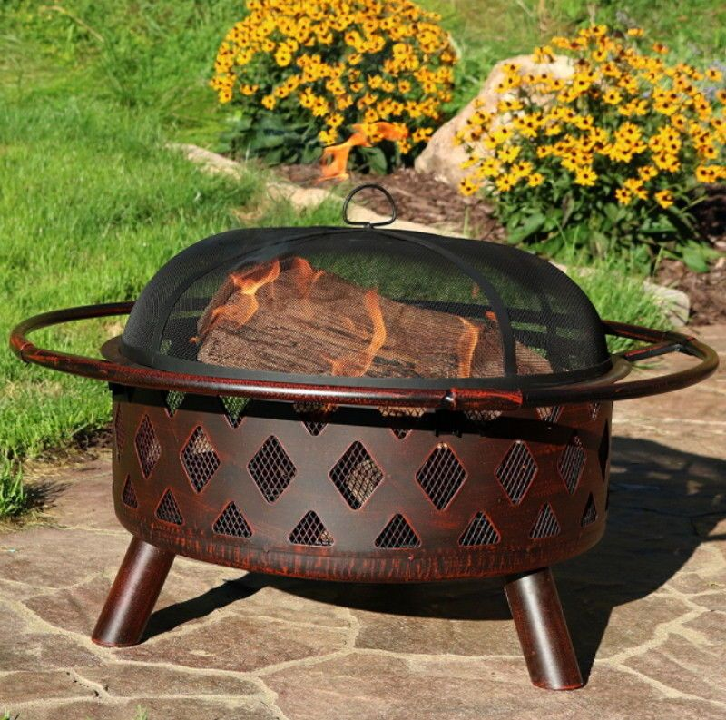 Details About 30 Inch Bronze Crossweave Wood Burning Fire Pit With Spark Screen Wood Burning Fire Pit Wood Burning Fires Fire Pit Bowl