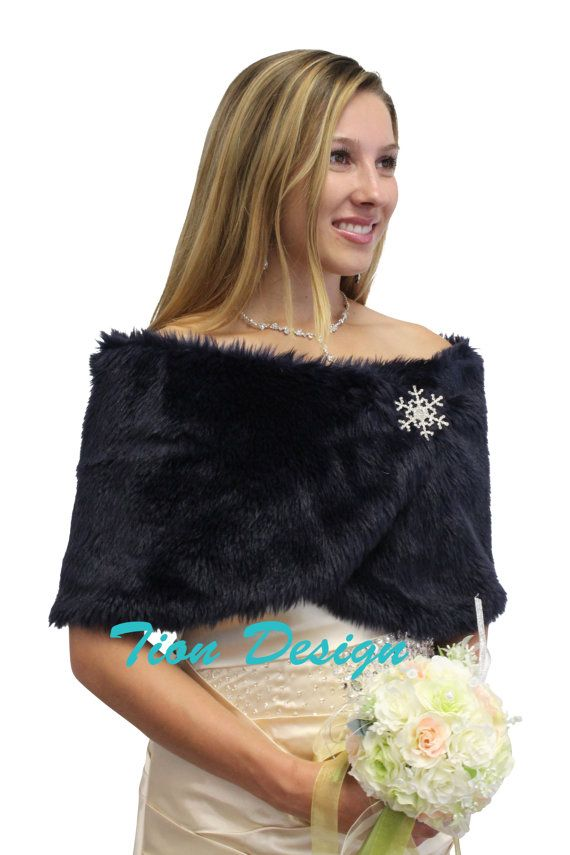 7 Days Bridal Wrap Navy Blue Faux Fur Stole Shrug Wedding Shawl Cape