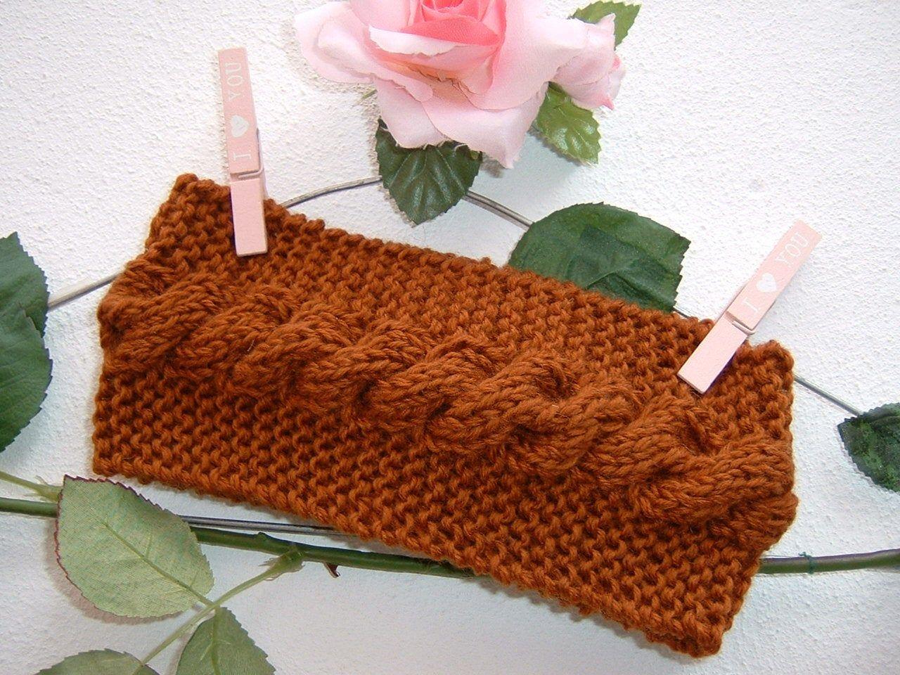 Fascia per capelli da donna-Fascia in pura lana lavorata a mano ai ferri-Fascia con la treccia-Colore marrone ruggine-caramello-Moda donna