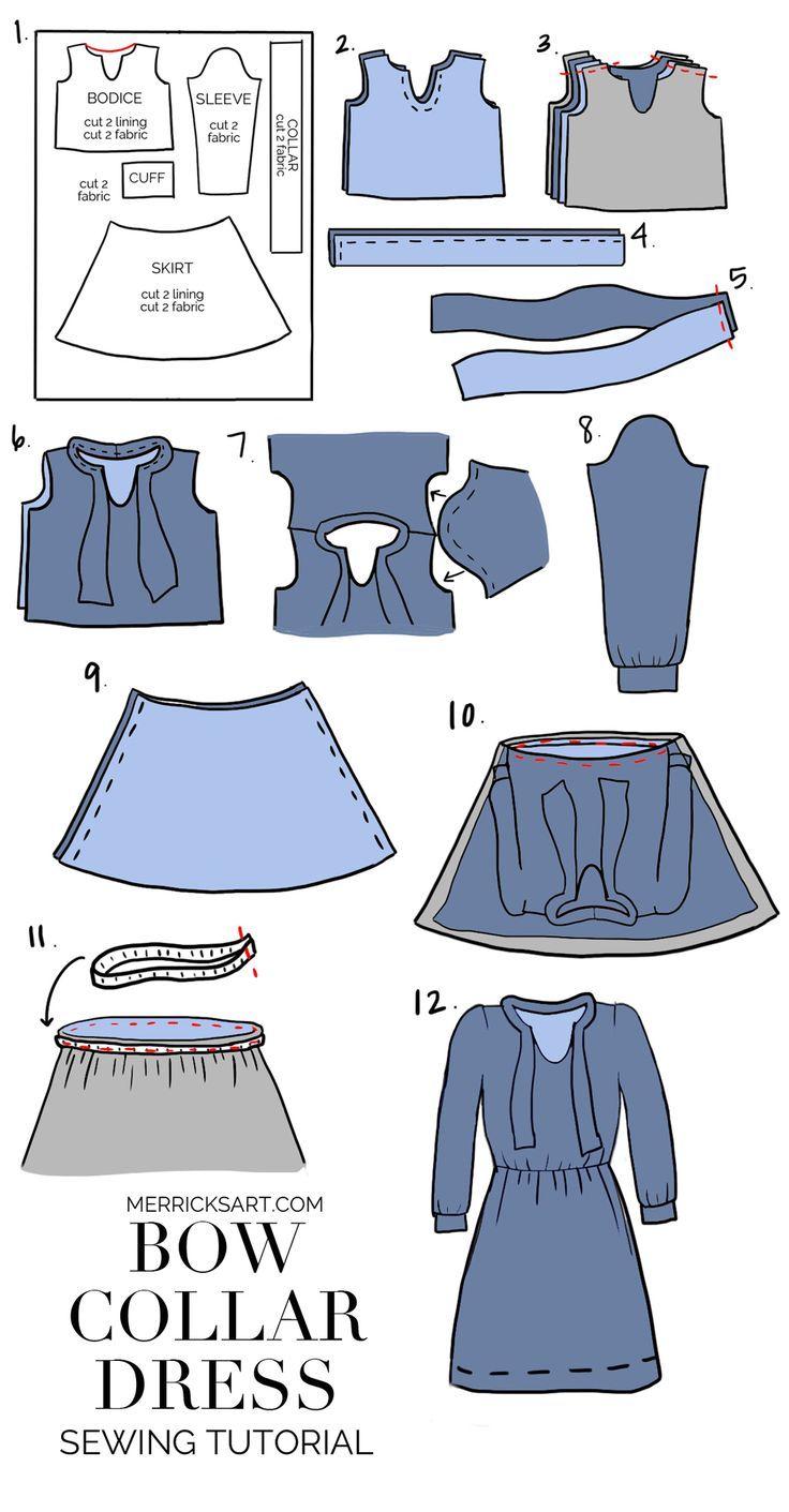 DIY Friday Bow Collar Dress Dress sewing tutorials