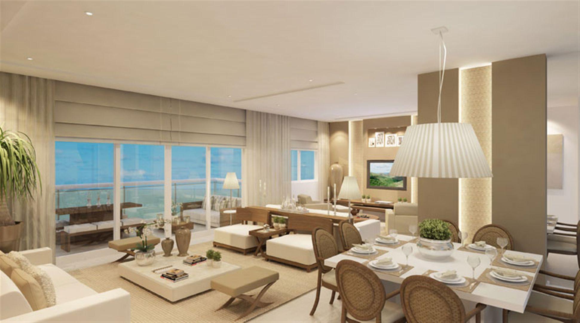 Perspectiva ilustrada living apartamento 161 m²