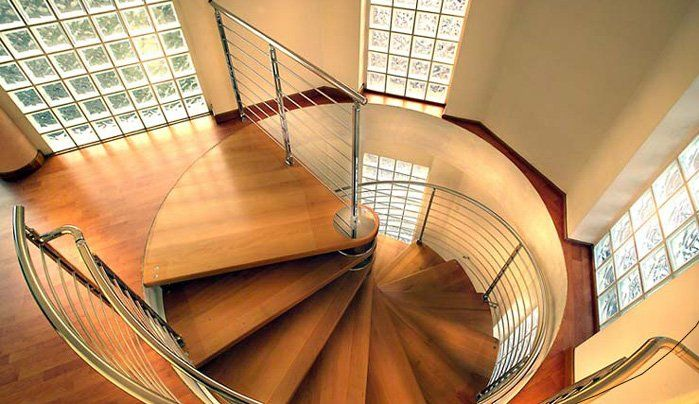 wood spiral staircase plans: Inspiring Wood Spiral Staircase Plans With Taekwood Spiral Staircase Plus Stainless Railing And Glass Wall Plus Wooden Floor ~ frashii.com Decorating Inspiration